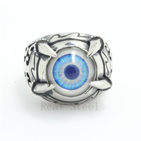 Hot Sell Dinosaur Claw Ring Fashion Jewelry Mouth Gothic Ghost Light Blue Eye Cool Ring Stainless Steel Eyeball Ring Motorbike