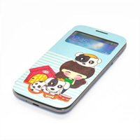 New painted girl phone smart window leather holster S-View Flip Cover Folio Case for Samsung S4 i9500