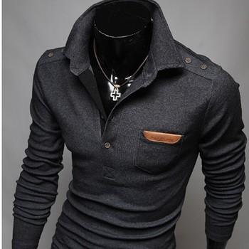 2014 новый ретро декоративные пуговицы шпон груди корейских мужчин культивирования с длинными рукавами поло человек свитер мужские пуловеры M ~ XXL