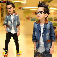 Child baby boy denim coat blazer suit xy04 children's clothing male child autumn 2013 outerwear Free shipping