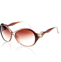 Fashion Women  Sunglasses  Women's  Elegant Sun Glasses Rhinestone Unisex Glasses With Box Coffee