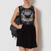 New 2014 Lady's Fashion Summer Animal Print Slim Casual Dress 100% Cotton Tank Dress Trendy Cat One-piece Skirt