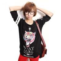 New 2014 Ladies' Summer Fashion Animal Print Shirt Solid Three-quarter Sleeve Casual Tops  XS, S, M, L, XL, XXL