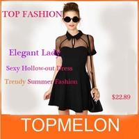 New Spring 2014 Summer Dress Fashion Sexy Slim Cutout Raglan-sleeve Black Chiffon One-piece Casual Dress Patchwork Skirt