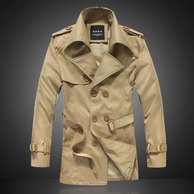 New 2014 autumn/winter fashion boutique long trench coat / Men's casual double-breasted lapelsdust coat / large size XS-5XL(China (Mainland))