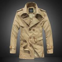 New 2014 autumn/winter fashion boutique long trench coat / Men's casual double-breasted lapelsdust coat / large size XS-5XL