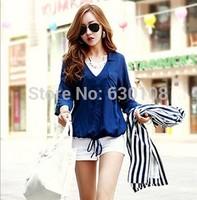 S-L 2014 New Fashion Hot Autumn Cozy plus size women clothes blouses Casual Slim tops Drawstring tie cardigan shirt