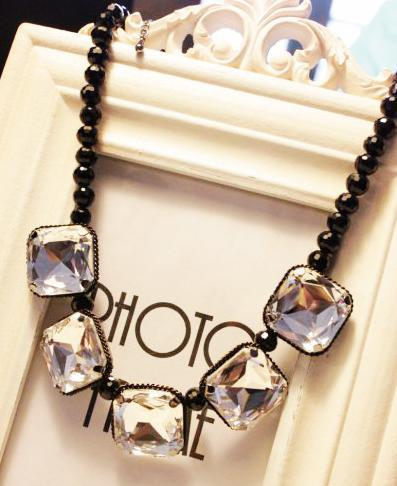 2014 seconds kill rushed yes (min order $10)free shipping trend unique chunky statement crystal necklace for women factory price(China (Mainland))