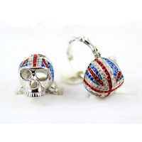 New Arrival Classic Platinum Plated Skull Rings Paved With Diamond ! Crystal UK Flag Ring For Women ! Valentine's Day Gifts