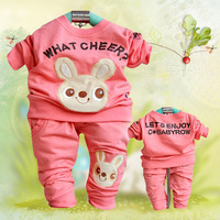 2014 spring autumn baby clothes suit baby boy girl rabbit long sleeved suit / thirt + pants Free shipping