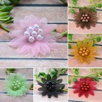 Cheap-fine 50pcs/lot Gauze Acrylic Ribbon Flower Appliques Hair Accessories,Wedding Decorations,DIY Accessories