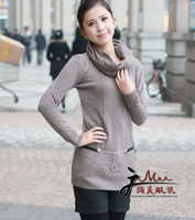 New winter wholesale women's sweater long section of Korean hot drilling Slim V-neck cashmere sweater with scarf