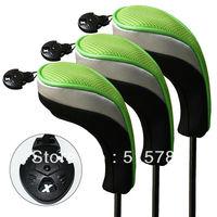 Andux Golf Hybrid Club Head Covers 3pcs Black &Green  Interchangeable No. Tag MT/hy05