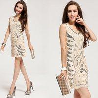 Free Shipping brand fashion women beige paillette slim waist dress formal dress elegant tank dresses women  LM6026
