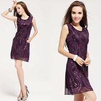 Free Shipping Europe high quality fashion dresses women  designers purple formal dress night  LM6022