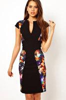 2013 New Summer Top Fashion Hybrid Pencil  Neon Print Midi Dress for Women Bandage Dress V-Neck LC6170 Free shipping