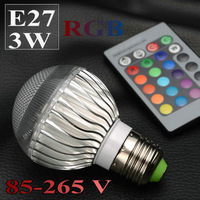 E27 3W RGB 85-265V spotlight led bulbs RGB lamps with high power chip ledbulb lighting GSLED036