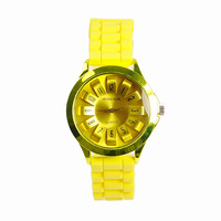 Women Men's WOMAGE Silicone Quartz Jelly Candy Wrist Watch