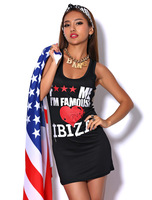 Fuck me ! im famous ! fashion red heart slim sexy vest one-piece dress