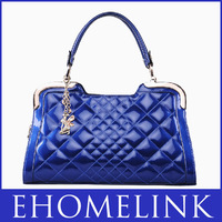 2013 New Women's Cowhide Handbags Plaid Handbag Sewing Thread Bags Free Shipping