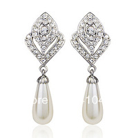 Red apple royal white pearl dangling earrings champage white gold plated,120564 -48