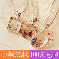 (Minimum order $ 10) 2014 new Lucky Crystal Wishing drift bottles perfume bottle long necklace sweater chain Fashion gift