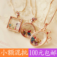 (Minimum order $ 10) 2103 Lucky Crystal Wishing drift bottles perfume bottle long necklace sweater chain Fashion gift