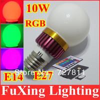 [ E14 E27 RGB LED Lamp ] 10W AC100-240V led Bulb Lamp with Remote Control multiple colour led lighting free shipping