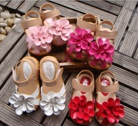 Summer children sandals for girl 3D big flower cowhells bottom pu fabric girls princess shoes baby sandals shoes retail QS315