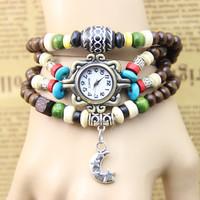 New Arrival leather bracelet moon watches for women dress watches quartz watch 1pcs/lot