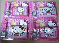 3pcs/lot Christmas Kids Children Wallet Gift Watch Cartoon Purse Watches Boys Girls Hello Kitty Sets Pack Wristwatches