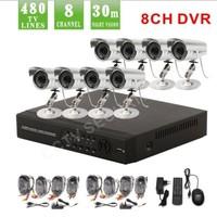 8 Channel IR Weatherproof Surveillance CCTV Camera Kit Home Security digital network DVR video Recorder cctv System,dvr kit