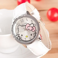 New Fashion 6 Colors Hello Kitty Women Leather Crystal Diamond Rhinestone Watches Lady Quartz Wristwatch Hours XMAS Gift