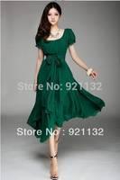 Free Shipping B6115 Plus Size Elegant Round Neck Puff Short Sleeve Irregular Lap Design Belted Chiffon Long Dress Black/Green