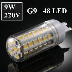 G9 9W SMD5050 48pcs LED chips AC 220V Led Corn bulb Warm White 480LM 360 degree Spot light  led bulb GSLED024