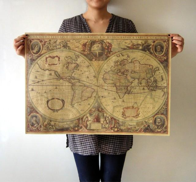 FreeShipping+Old nautical maps 1641 Vintage Style Retro Paper Poster 71cmx50cm /28inchX19.7inch(China (Mainland))