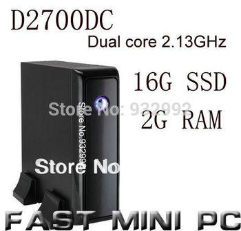 HTPC MINI PC Intel  D2700DC 2.13GHz  2G RAM 16G  SSD dual core 2.13GHz fanless mini computer
