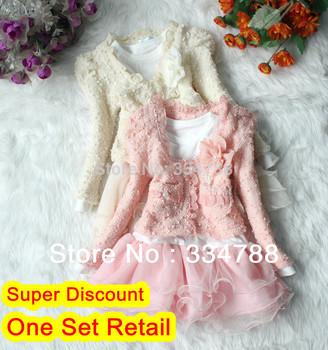 Retail New 2013 Autumn Summer 2pcs Children Clothing Sets Kids Lace Coat + Tutu Girl Dress Flower Baby Girls' Dresses