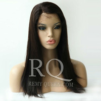 """Remy Queen Hair Products Glueless Lace Front Wigs Brazilian Human Hair 8""""-24"""" Medium Density 1B# Off Black Straight Hot Sale DHL"""
