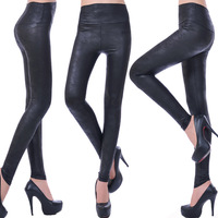 European and American original single large size high waist abdomen serpentine leather leggings leggings wholesale sexy leather