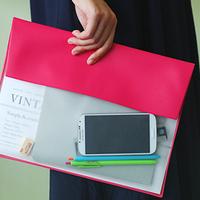 Candy color brief imitation leather oversized file bags file folder file set storage bag