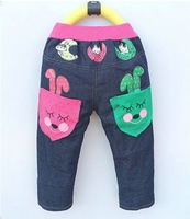 Retail-free shipping 2013 jeans jeans children denim jeans trousers girl Bunny Moon children jeans trousers girl Trousers