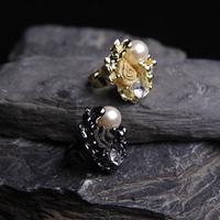2 pcs/lot Euro Retro Style Unique Luxury Venetian Pearl Roses Ring for Women Lady Girls