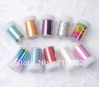 Free shipping 2013 new fashion 12 bottles different color transfer foil roll,transfer foil nail art sticker 22design for choice