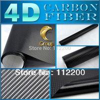Black 4D Carbon Fiber Vinyl Car Wrap Sticker High Quality For Car Decoration With Bubble Free Size: 1.52 m x 30 M Free Shipping