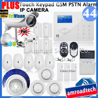 Touch Keypad GSM PSTN Wireless Security Burglar Alarm System + HD 1080P PoE Wifi Network IP Camera w APP Live View iHome328GPB44