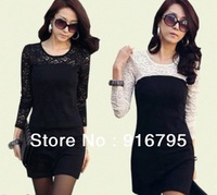 Sexy Women's Lady Crew Neck Sheer Lace Party Night Culbbing Tunic Solid Black Bodycon Dress Size S M L XL Free Shipping