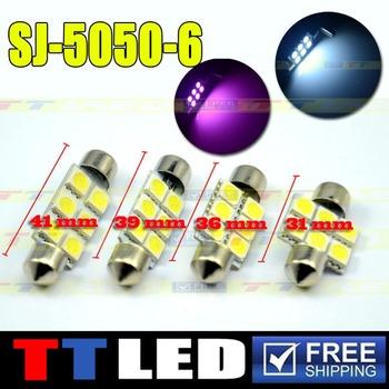 50 X Festoon Dome 31mm 36mm 39mm 41mm 6 SMD 5050 LED Car interior Reading License plate led 12V White Blue Free shipping #TK07