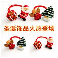 24Pcs/Lot Kid's Plastic Hair Rope Lovely Children's Elastic Hair Bands Christmas Trees+ Cartoon Angels Father Christmas+Gift Box