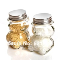 2013 new Hot-selling bear canister glass storage jar seasoning bottle condiment bottles glass jar 100ml